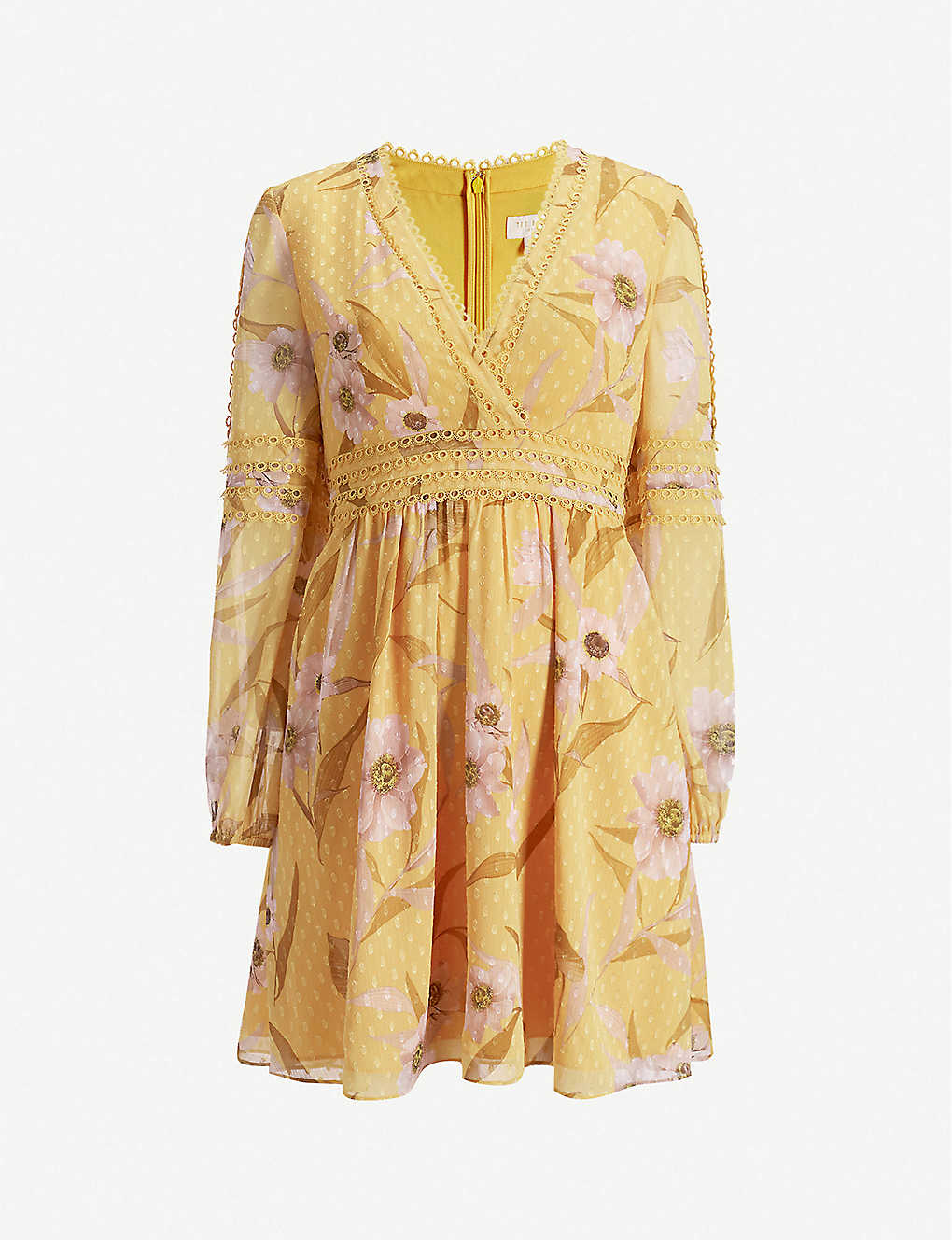 TED BAKER: Posyy Cabana floral-print lace-trimmed woven mini dress