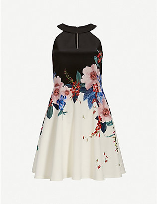 TED BAKER: Jamboree Tildda stretch-woven mini skater dress