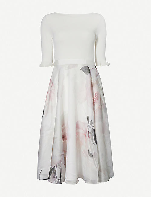 TED BAKER: Bouquet-print crepe midi dress