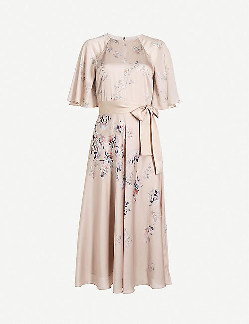 TED BAKER: Erla Bouquet floral-print woven midi dress