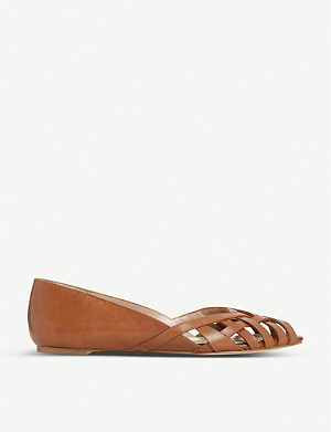 DUNE Harrel peep-toe leather ballet flats