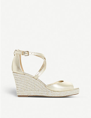 DUNE: Kimchi metallic leather wedge sandals