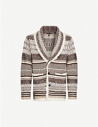 ALANUI: George geometric-patterned cashmere and linen-blend cardigan