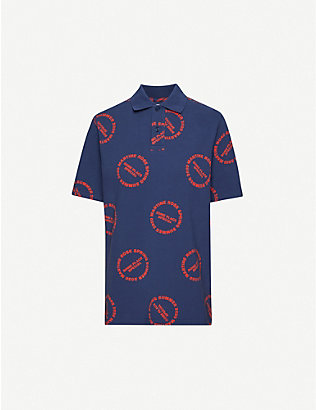MARTINE ROSE: Logo-print cotton-piqué polo shirt