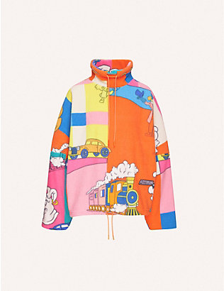 MARTINE ROSE: Graphic-print funnel-neck fleece jumper