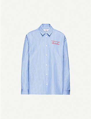MARTINE ROSE: Logo-embroidered oversized cotton shirt