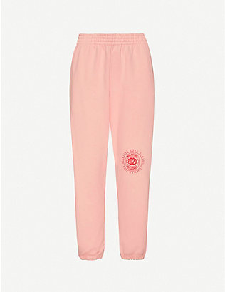 MARTINE ROSE: Logo-print cotton-jersey jogging bottoms