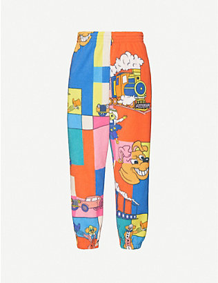 MARTINE ROSE: Cartoon-print tapered fleece jogging bottoms