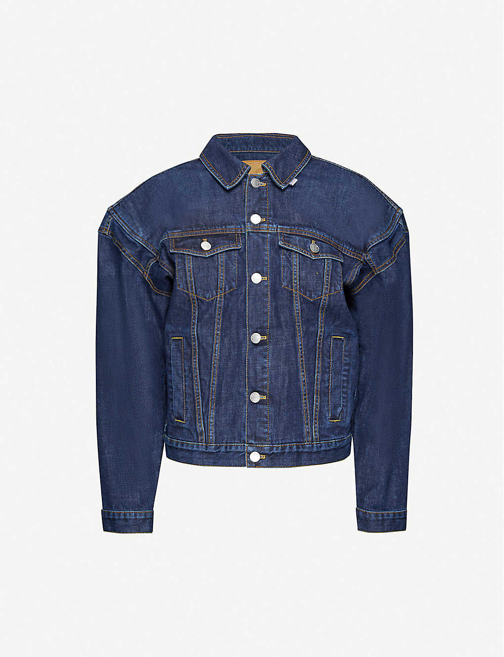 MARTINE ROSE: Oversized-shoulders denim jacket
