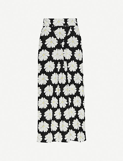PACO RABANNE: Daisy-embroidered stretch-cotton midi skirt