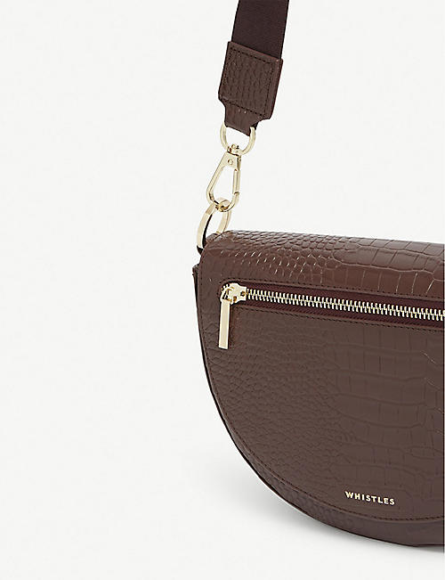 WHISTLES Monty half-moon croc-embossed leather cross-body bag