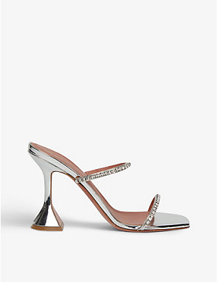 AMINA MUADDI: Gilda crystal-embellished leather heeled mules