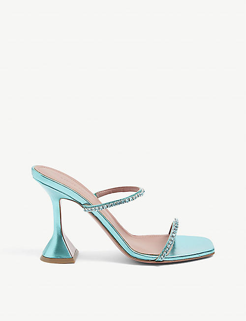 AMINA MUADDI: Gilda crystal-embellished metallic-leather heeled sandals