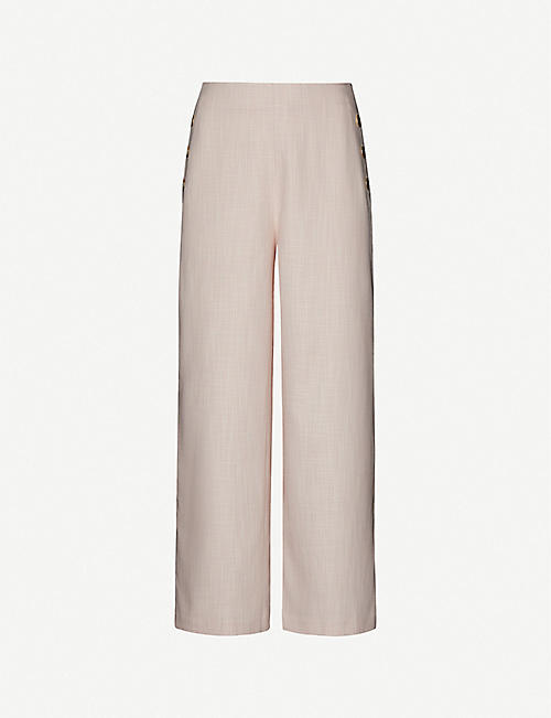 TED BAKER: Checked wide high-rise woven culottes
