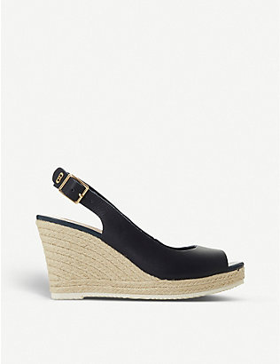 DUNE: Knox leather espadrille wedge sandals