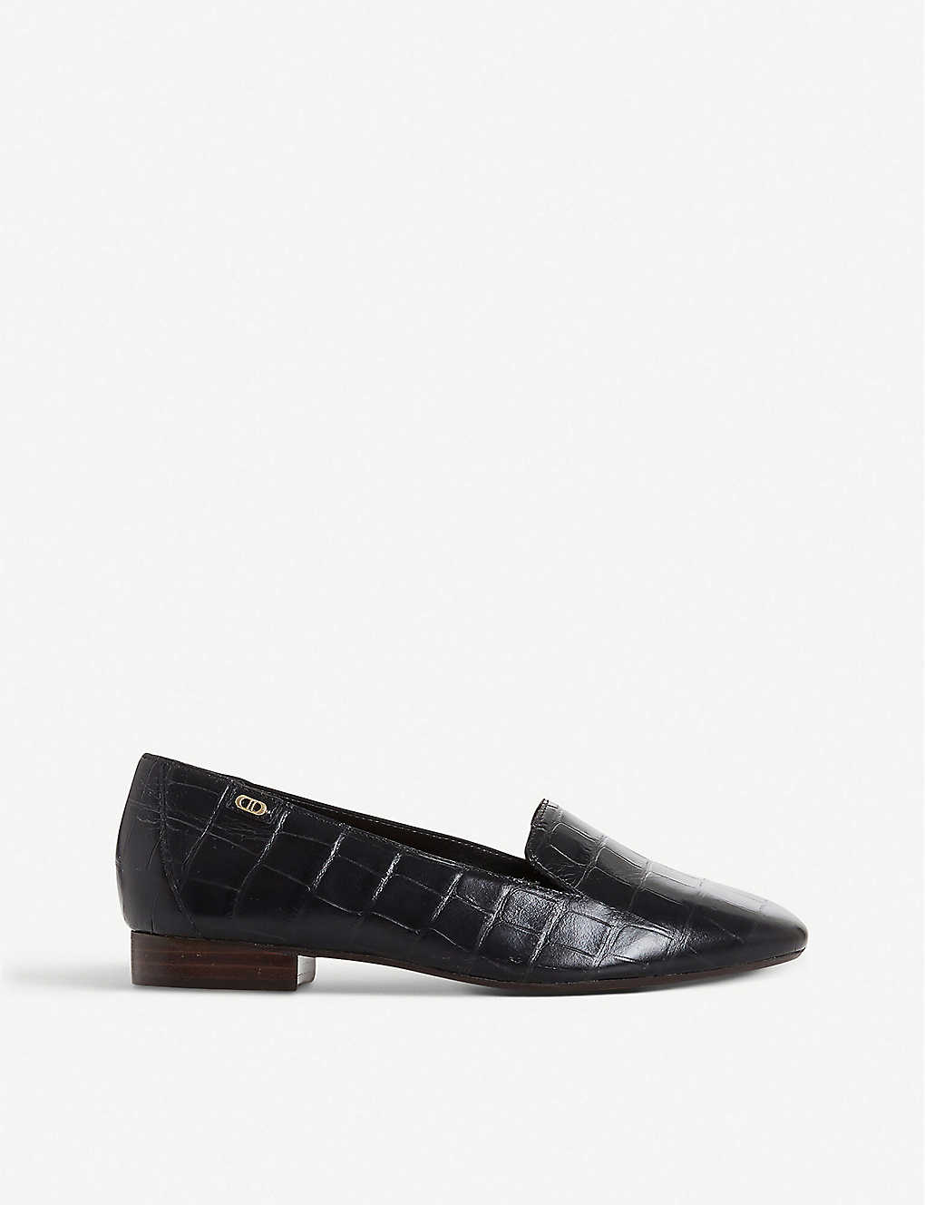 DUNE: Gael croc-embossed leather loafers