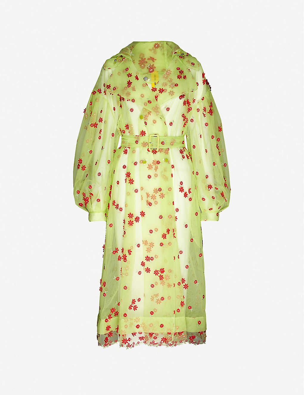 MONCLER GENIUS: Moncler Genius x Simone Rocha Coronilla floral-embroidered woven trench coat