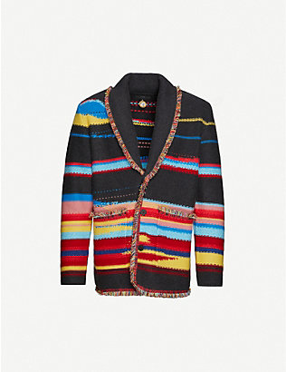 ALANUI: Striped fringed cashmere cardigan