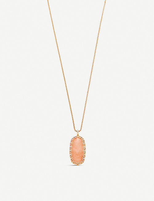 KENDRA SCOTT: Macreme Reid Nude Abalone and 14ct gold-plated necklace