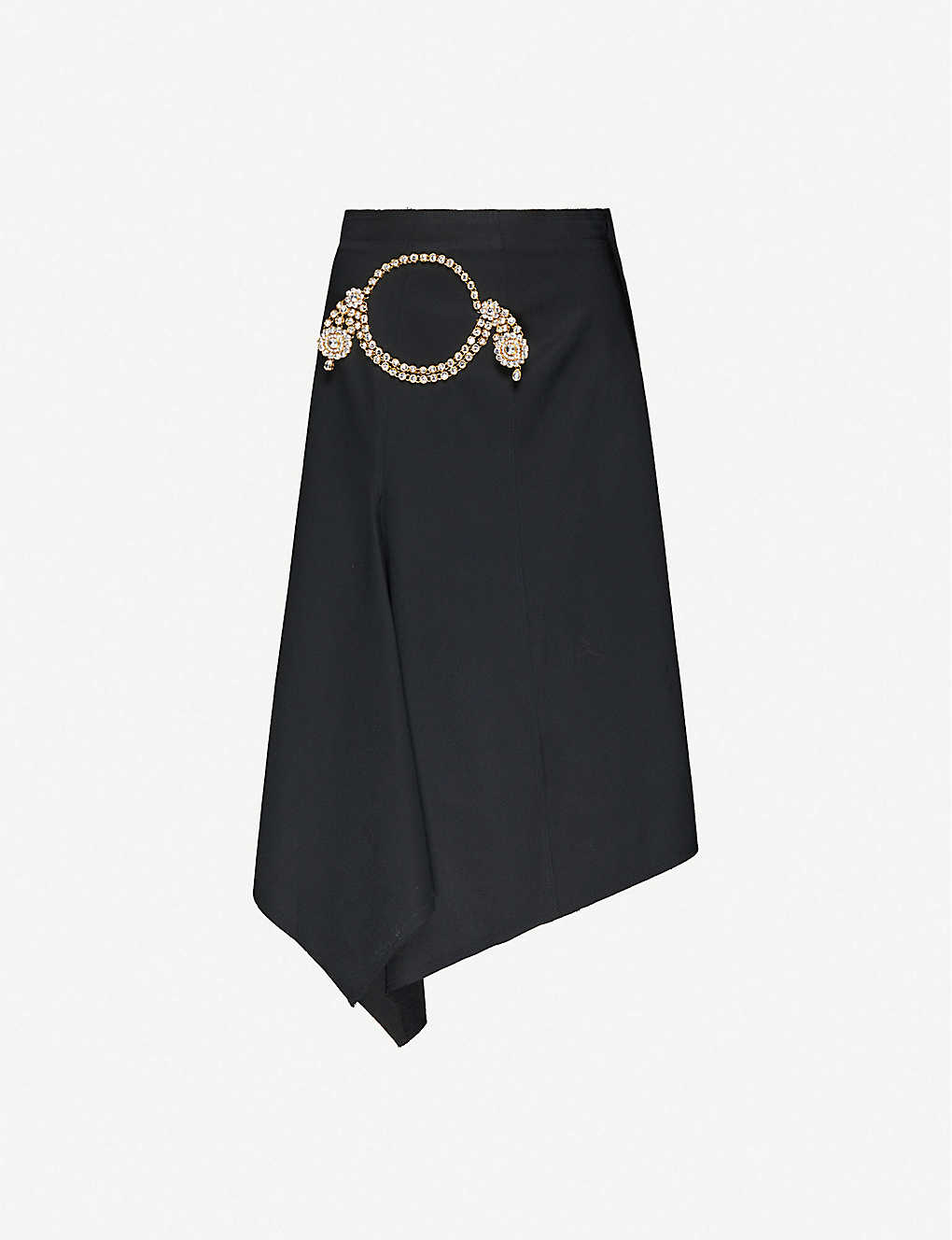 JW ANDERSON: Crystal-embellished asymmetric wool midi skirt