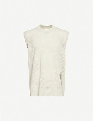 RICK OWENS: Rick Owens x Champion sleeveless embroidered-pattern crewneck mesh vest