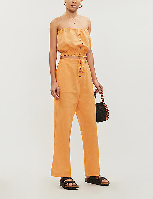 BILLABONG X SINCERELY JULES Bring On straight-leg high-rise cotton trousers