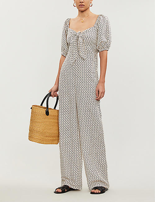 BILLABONG X SINCERELY JULES Shout graphic-print linen-blend jumpsuit