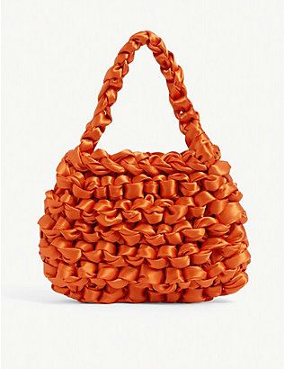 MIISTA: Theodore knotted satin mini tote bag