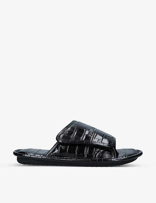 BALENCIAGA: Home croc-embossed leather sliders