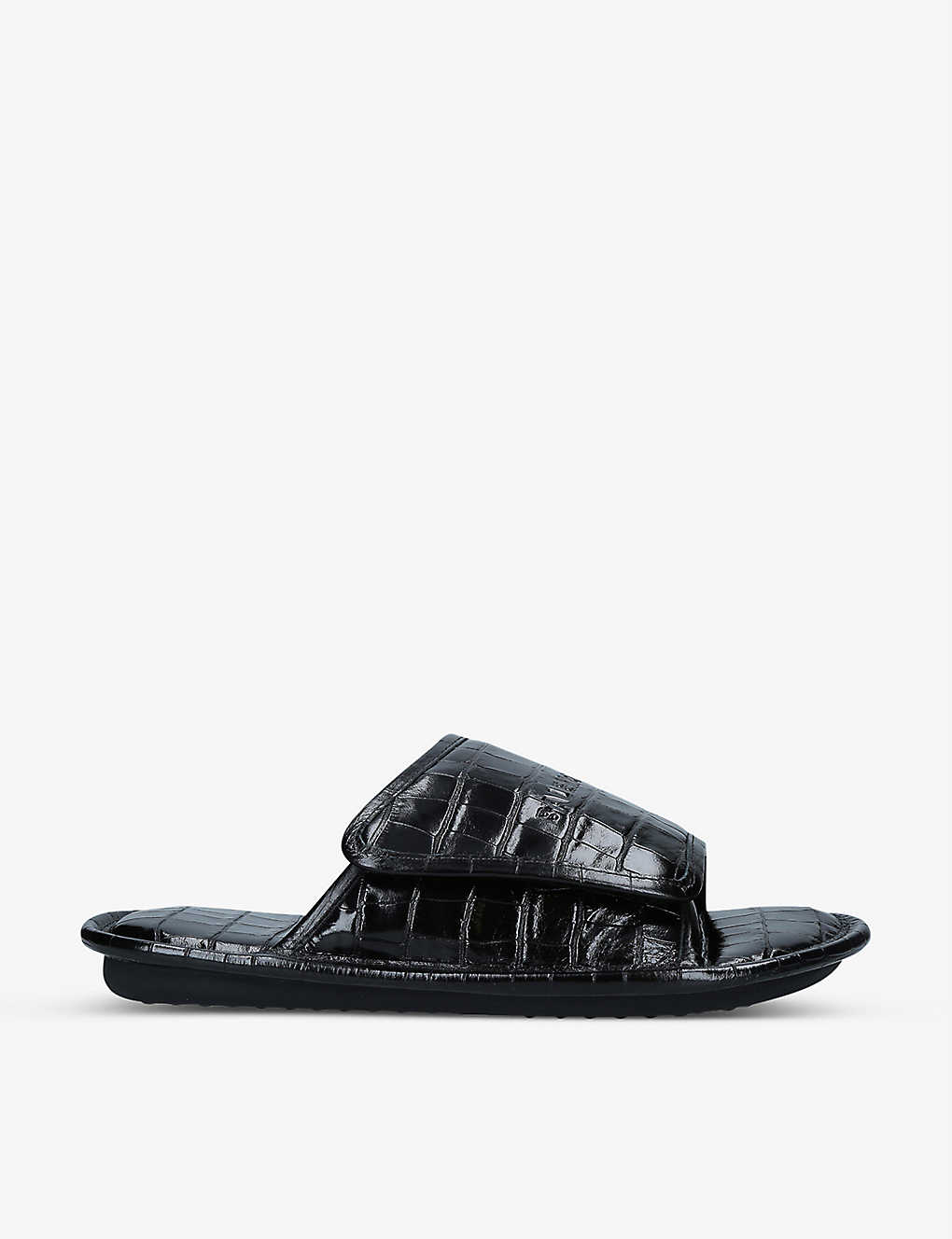 Balenciaga HOME CROC-EMBOSSED LEATHER SLIDERS