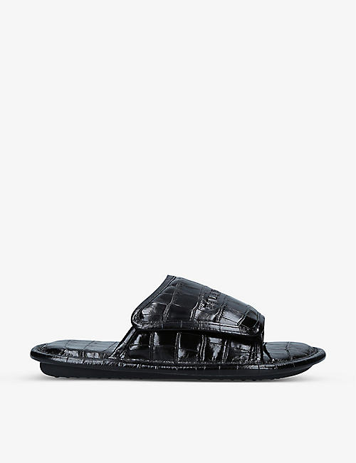 BALENCIAGA: Home logo and crocodile-embossed leather slider sandals