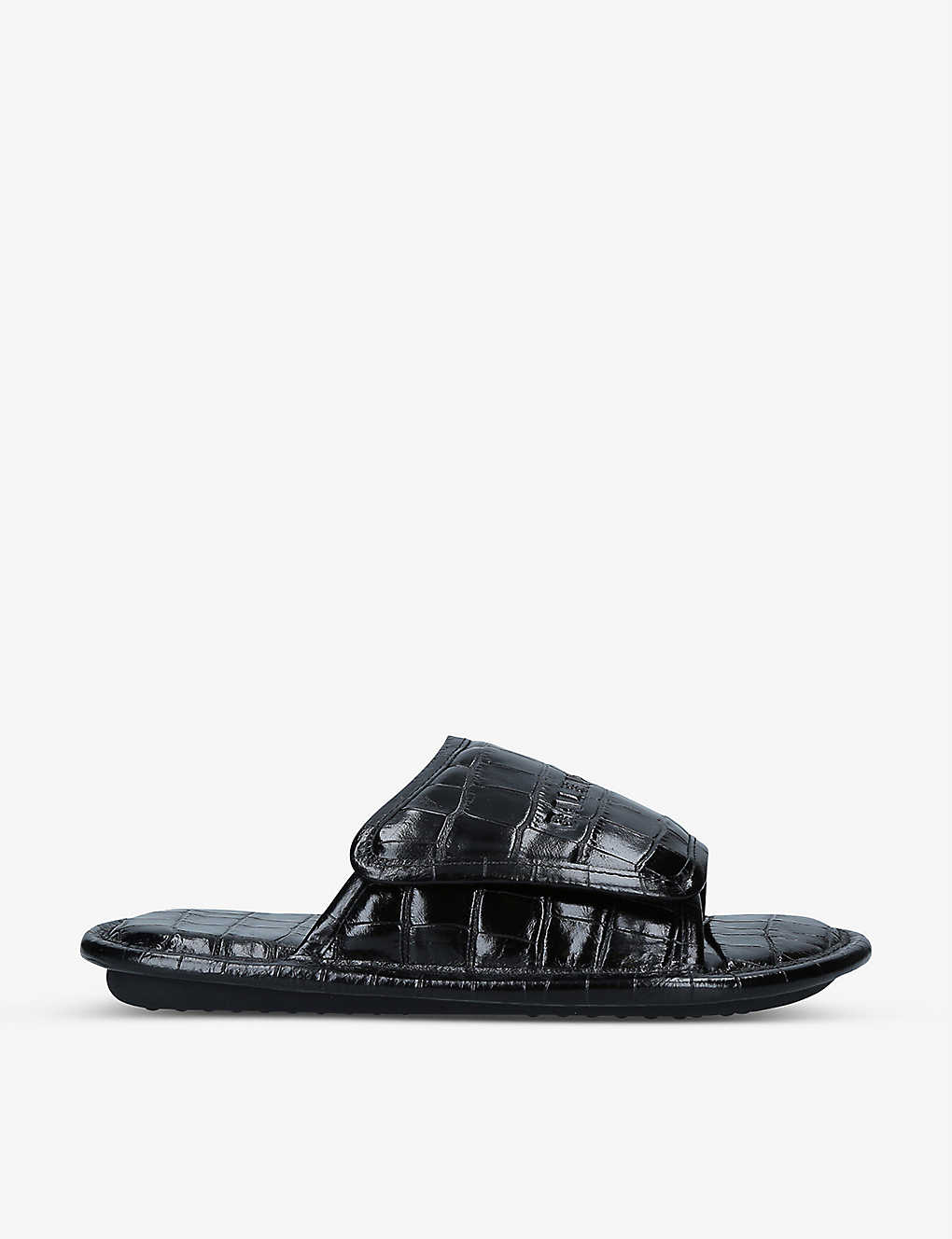 Balenciaga Leathers HOME LOGO AND CROCODILE-EMBOSSED LEATHER SLIDER SANDALS
