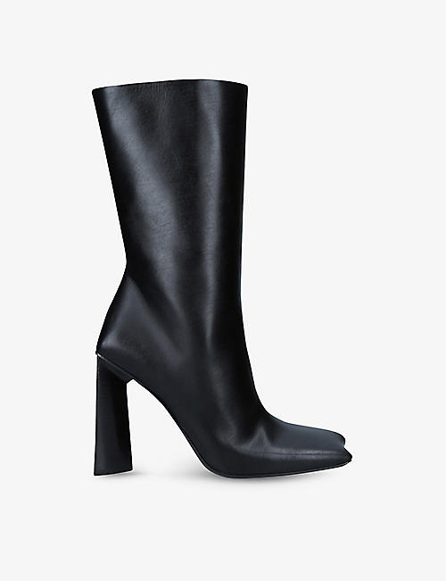 BALENCIAGA: Moon Bootie square-toe heeled leather boots