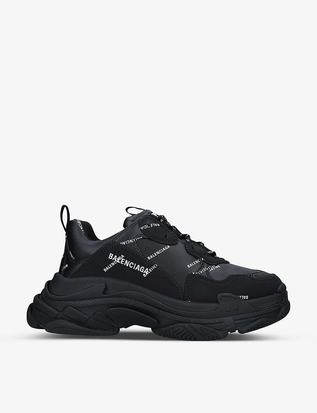 BALENCIAGA: Triple S logo-print faux-leather trainers