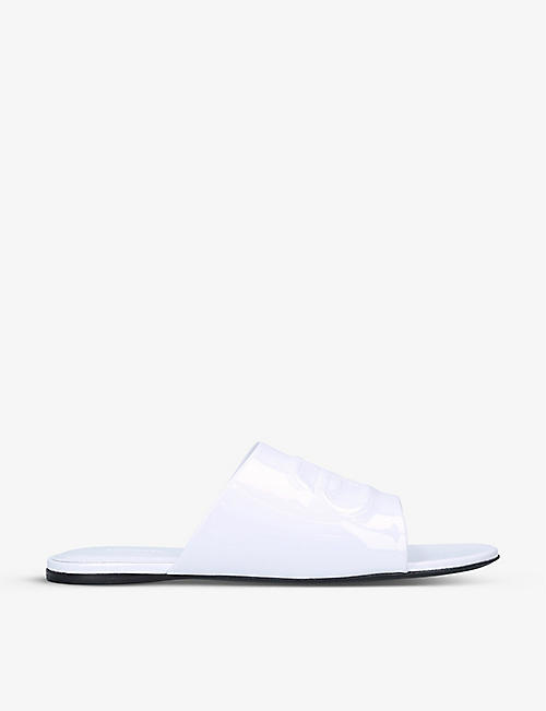 BALENCIAGA: Oval BB patent-leather sandals