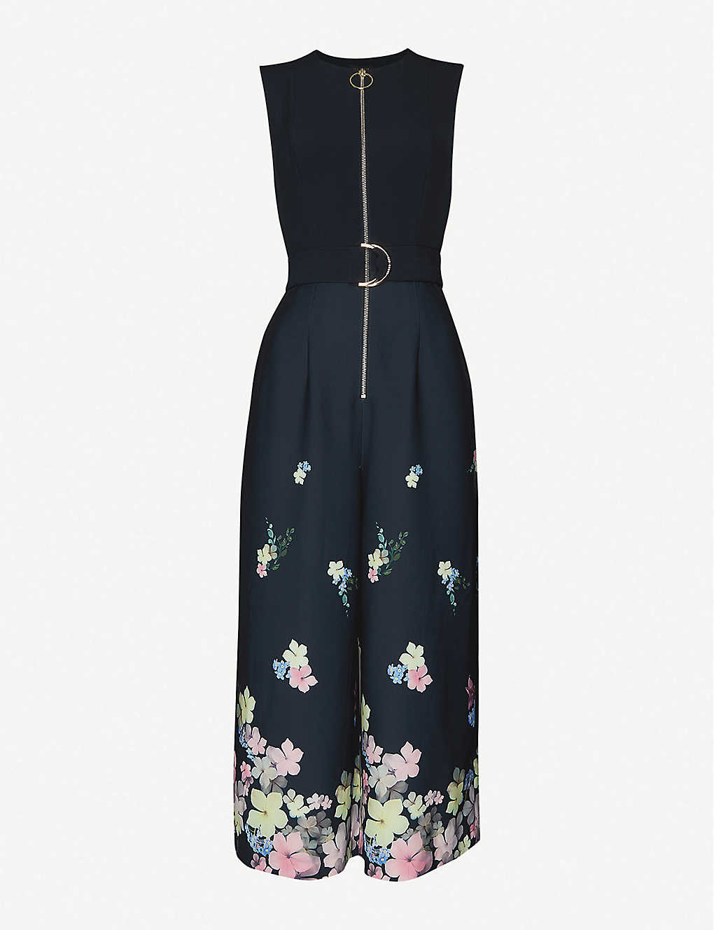 TED BAKER: Pergola floral-print regular-fit stretch-crepe and stretch-satin jumpsuit