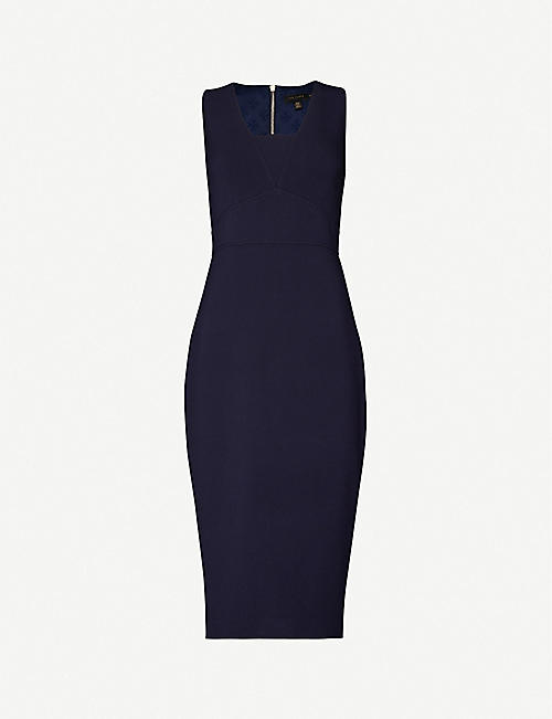 TED BAKER: Sleeveless stretch-woven midi dress