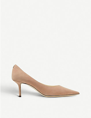 JIMMY CHOO: Love 65 logo-embellished suede courts