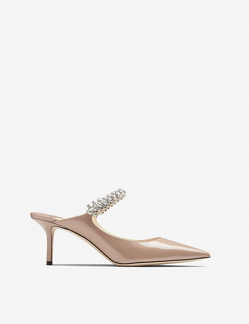 JIMMY CHOO: Bing 65 embellished patent-leather heeled mules