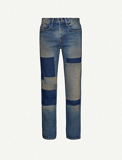 REESE COOPER: Patchwork straight-fit jeans