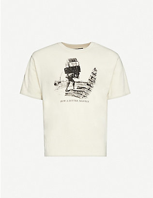 REESE COOPER: How A Letter Travels vintage-print cotton-jersey T-shirt