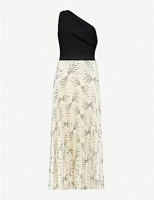 VICTORIA BECKHAM: One-shoulder crepe and pleated satin midi dress