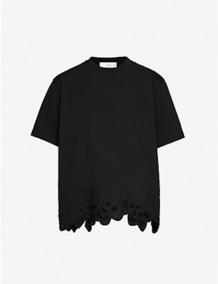 VICTORIA BECKHAM: Floral-embroidered cotton-jersey T-shirt