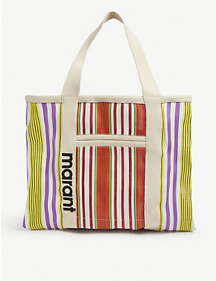 ISABEL MARANT: Warden striped canvas tote bag