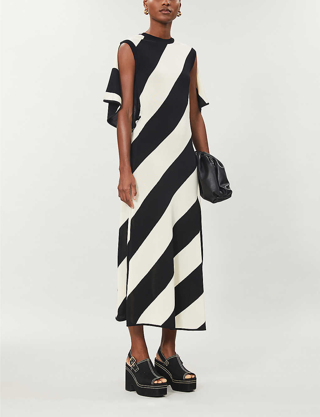 STELLA MCCARTNEY: Striped cotton-blend knitted midi dress
