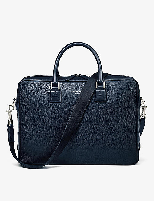 ASPINAL OF LONDON: Mount Street small grained leather tech bag