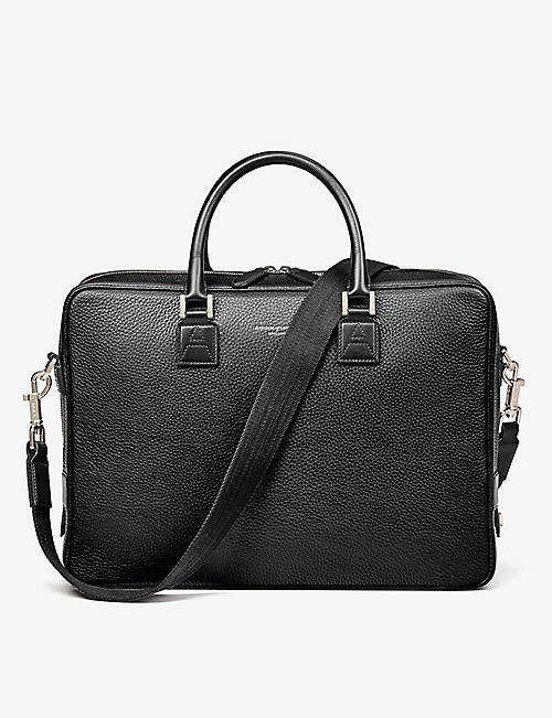ASPINAL OF LONDON: Mount Street full-grain leather laptop bag