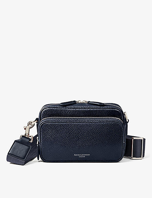 ASPINAL OF LONDON: Reporter grained leather messenger bag