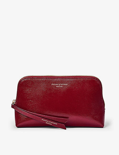 ASPINAL OF LONDON: Essential lizard-embossed leather cosmetic case