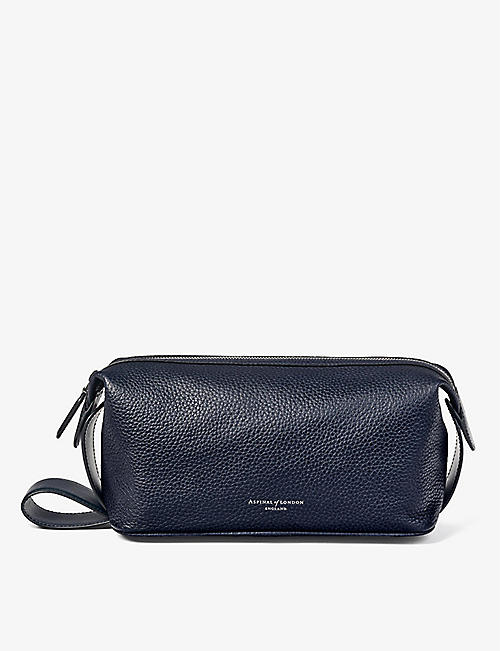 ASPINAL OF LONDON: Reporter textured-leather wash bag